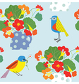 Bird and flowers pot seamless pattern cute retro vector image