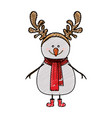 color crayon stripe cartoon of snowman with red vector image