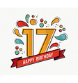 Colorful happy birthday number 17 flat line design vector image