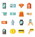 nfc technology icons concept payment mobile online vector image