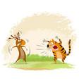 tiger snarls on elk vector image