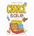garage sale poster event invitation hand drawn vector image