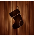 Christmas socks icon Wooden background vector image