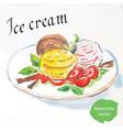 balls of ice cream with strawberries vector image