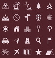 Location color icons on red background vector image