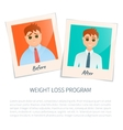 Photographs of a man before and after weight loss vector image