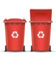 red recycling bin bucket for metal trash vector image