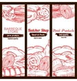 Sausage food and meat on sketched banner vector image