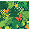 Seamless pattern with palm trees leaves and butter vector image