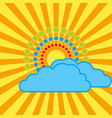 The sun with bright rays behind the clouds vector image