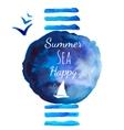 Summer sea watercolor background vector image
