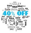a 40 percent sale text cloud vector image