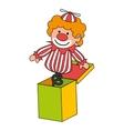 Clown suprise box toy icon vector image