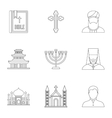 Religion icons set outline style vector image