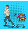 Pop Art Happy Man with Shopping Cart full of Gifts vector image