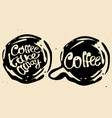 coffee hand draw circle logo with vector image