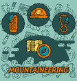 mountaineering flat concept icons vector image