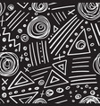 Abstract marker white lines on black background vector image