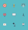 flat icons science writing compass and other vector image