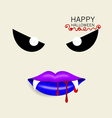 Happy Halloween design background with vampire vector image