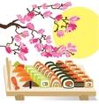 Beautiful set of Sushi Japanese food under the vector image