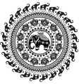 Round pattern with decorated elephants vector image vector image