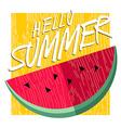 Hello summer happy poster design with watermelon vector image vector image