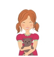 a girl with a bear vector image