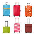 cartoon travel suitcase color set vector image