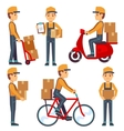 Delivery service man with boxes characters vector image