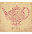 Teapot on sepia background vector image