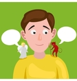 Man with angel and devil on his shoulder vector image vector image