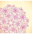 Pink doodle vintage flowers circle vector image vector image