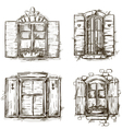 Vintage window hand drawn set of drawings vector image