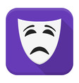 Sad mask app icon with long shadow vector image