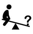 Confusion Man on Swing People with Question Mark vector image