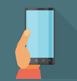 hand holding mobile phone flat icon whit long vector image