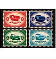 set of postage stamps with cars vector image