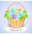 Easter bucket with flowers and decorated eggs vector image vector image