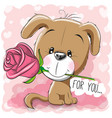 cartoon puppy with flower on a pink background vector image
