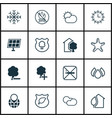 set of 16 ecology icons includes snow fire vector image