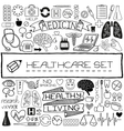 Hand drawn medical set of icons vector image