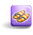 Sandles on purple badge vector image vector image