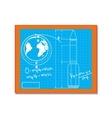 Blackboard with blueprint drawings cartoon vector image