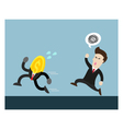 coin run away from businessman who try to catch vector image