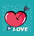 heart with arrow to romantic symbol design vector image