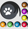 paw icon sign Symbols on eight colored buttons vector image