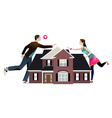 Separation of a couple with house in the middle vector image