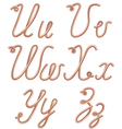 U V W X Y Z Letters Made of Metal Copper Wire vector image