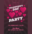 valentines day invitation flyer the template for vector image
